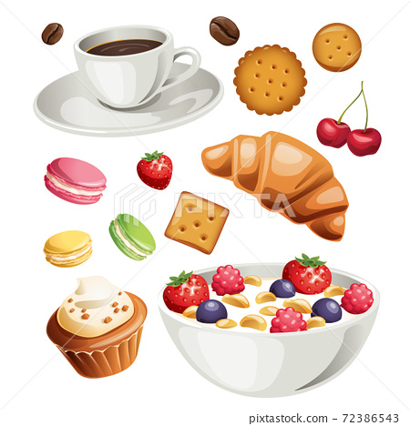 Healthy breakfast high detailed food elements icons set. 72386543