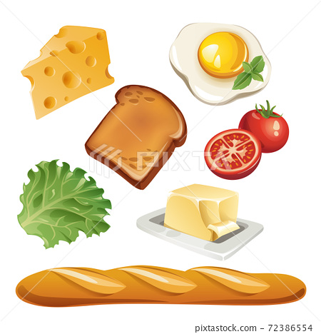 Vector set of stylized food icons in high detailed style. 72386554