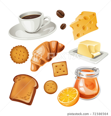 Vector set of stylized breakfast food icons. 72386564