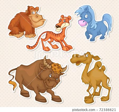 Vector animals cartoon characters in cool Sticker designs 72386621