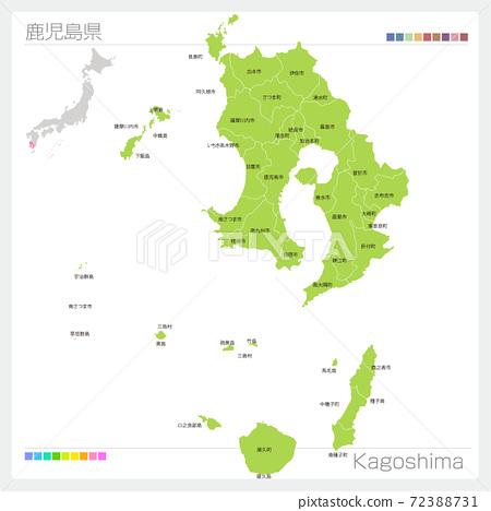 가고시마 현의지도 · Kagoshima · 도시 이름 (시정촌 · 구분) 72388731