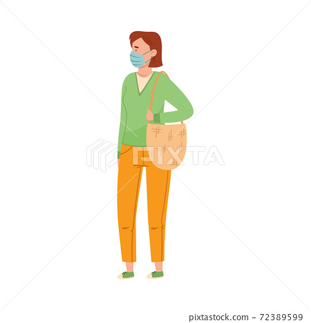 Woman in Protective Mask Walking Along the Street Vector Illustration 72389599