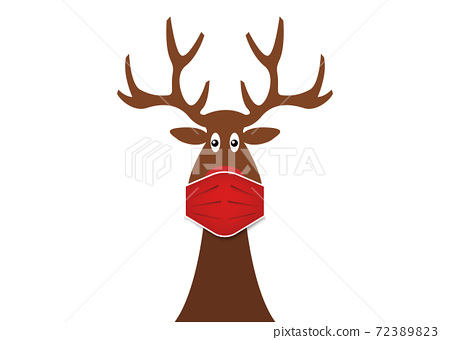 Festive Christmas reindeer wearing face mask for Corona virus protection. Christmas cartoon and reindeer with surgical mask in flat style. Vector isolated on white background  72389823