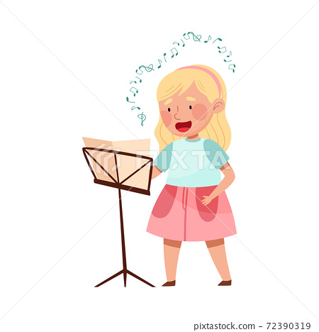 Cute Girl Singing with Open Music Book Vector Illustration 72390319