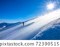 Skier on a Sunny Slope and Blizzard 72390515