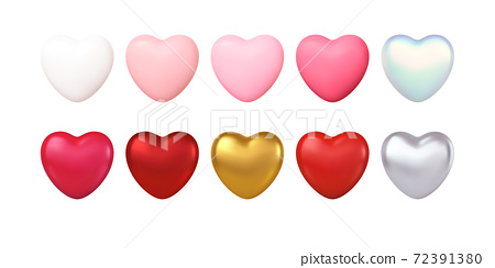 Big Valentines Day Set of different color realistic gold, red, pink, silwer, white hearts isolated on white background. Happy Valentines Day design elements. Vector illustration 72391380