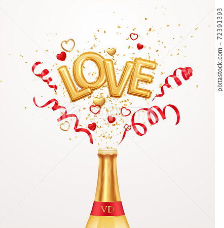 Inscription love helium balloons on a background of golden confetti and red swirling streamer ribbons flying out of a bottle of champagne. Happy valentines day festive background. Vector illustration 72391393