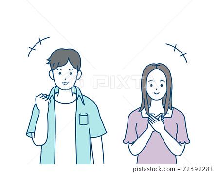 微笑,高興,年輕的男人和女人,破產 72392281