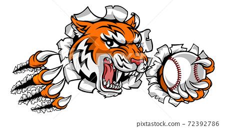 Tiger Tennis Player Animal Sports Mascot 72392786