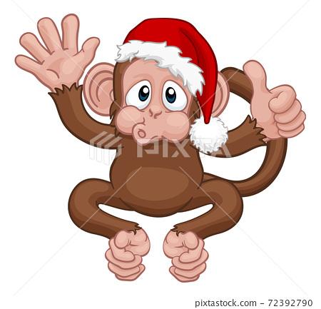 Christmas Monkey Cartoon Character in Santa Hat 72392790