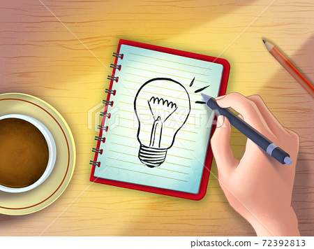 Finding ideas on a notepad 72392813