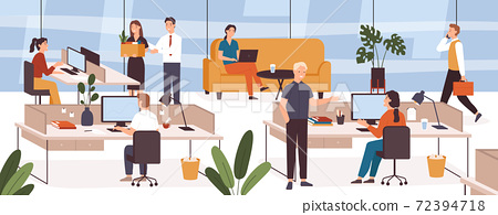 Busy people in office. Company modern workplace interior with employees sitting tables and computers. Scene with work process vector concept 72394718