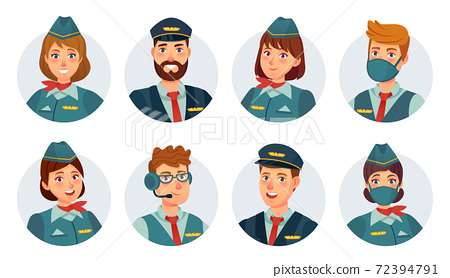 Air crew avatars. Airline pilot, ship captain, stewardess, flying attendant and flight engineer round icon. Airport staff in mask vector set 72394791