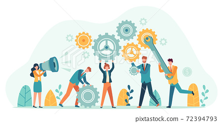 Business people with gears. Employee team create mechanism with cogs, manager with megaphone. Tiny person teamwork motivation vector concept 72394793