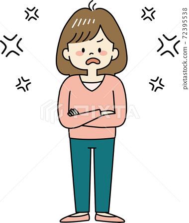 一個生病時生氣的女人(全身) 72395538