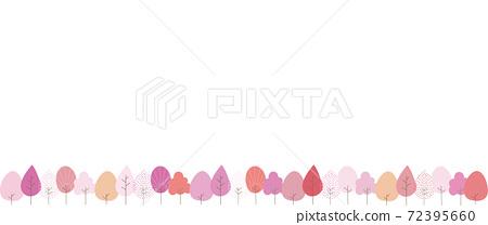 一排變成紅色或粉紅色的樹的背景插圖 72395660