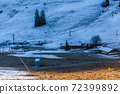 Orphaned mountain pastures and ski lifts in a ski area 72399892
