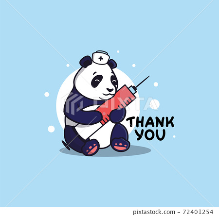 The cute panda is a nurse in a vector illustration. 72401254