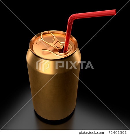 Gold aluminum beer or soda can with red straw isolated on black background. 72401391