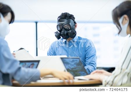 지나친 자기 방어 방독면 사무실 코 워킹 스페이스 비즈니스 이미지 벤처 기업 72404175
