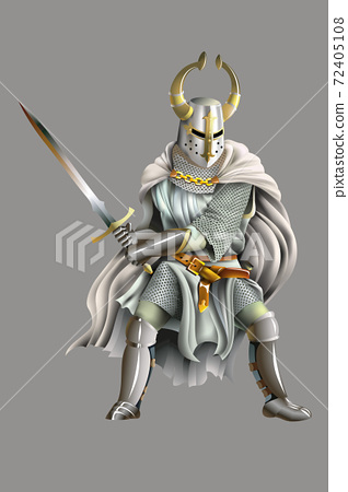 Heavy armored Crusader, Knight of Order, with a sword in his hands, vector illustration with mesh gradient 72405108