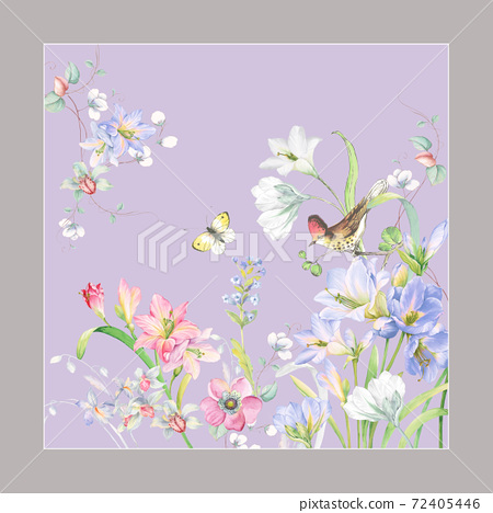 色彩豐富的花卉素材組合和設計元素 72405446