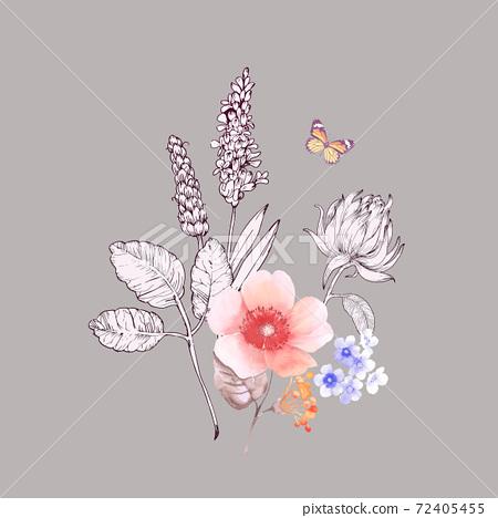 色彩豐富的花卉素材組合和設計元素 72405455