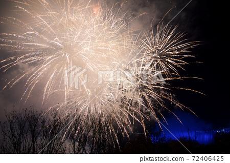 NIAGARA FALLS, ONTARIO, CANADA - MAY 20th 2018: Niagara Falls lit at night by colorful lights with fireworks 72406425