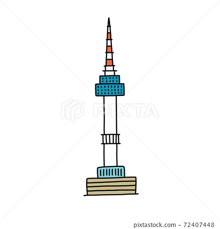 Seoul tower doodle icon, vector color illustration 72407448