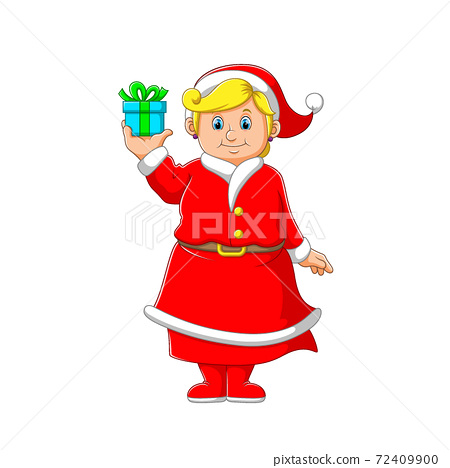 The women with the yellow hair holding the blue little box of gift for the Christmas 72409900