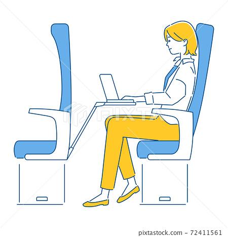 新幹線遠程工作的女性/ 3種顏色 72411561