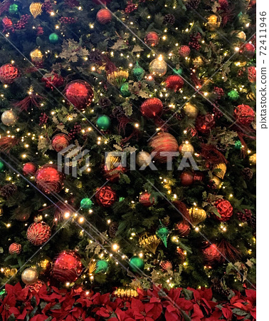 Vertical closeup Christmas flowers and tree with shiny  decorations and lights 72411946