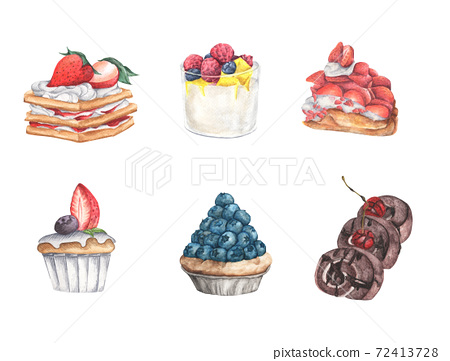 Set of delicious sweets and desserts, Berry Topping. Watercolor illustration. 72413728