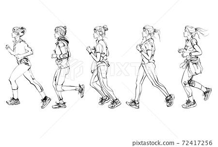 Young women running 72417256