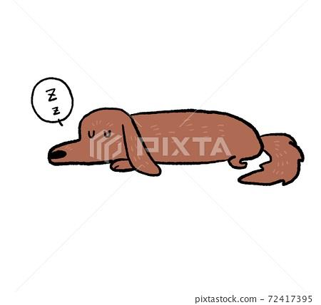 睡覺的狗的插圖 72417395