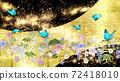 일본식의 꽃들과 푸른 나비 금박과 검은 배경 가로 72418010