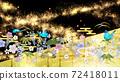 일본식의 꽃들과 푸른 나비 금박과 검은 배경 가로 72418011
