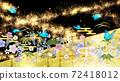 日式花朵和藍色蝴蝶金箔和黑色背景 72418012