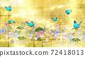 日式花朵和金箔背景上的藍色蝴蝶 72418013