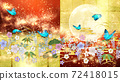 일본식 꽃과 달과 파란 나비 금박과 빨간색 배경 옆 72418015