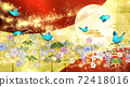 日式花朵,月亮,藍色蝴蝶,金箔和紅色背景 72418016