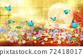 일본식 꽃과 달과 파란 나비 금박과 빨간색 배경 옆 72418017