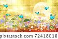 일본식 꽃과 달과 파란 나비 금박과 빨간색 배경 옆 72418018