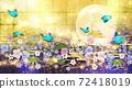 일본식 꽃과 달과 파란 나비 금박과 파란색 배경 가로 72418019