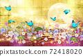 日式花朵,月亮,藍色蝴蝶,金箔和紫色背景 72418020