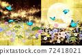 일본식 꽃과 달과 파란 나비 금박과 검은 배경 가로 72418021