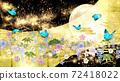 일본식 꽃과 달과 파란 나비 금박과 검은 배경 가로 72418022