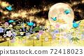일본식 꽃과 달과 파란 나비 금박과 검은 배경 가로 72418023