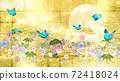 金箔背景上的日式花朵,月亮和藍色蝴蝶 72418024
