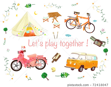Illustration of vehicles that can be used in a fun camp 72418047